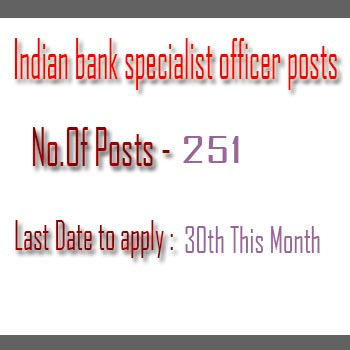 Indian bank specialist officer posts recruitment