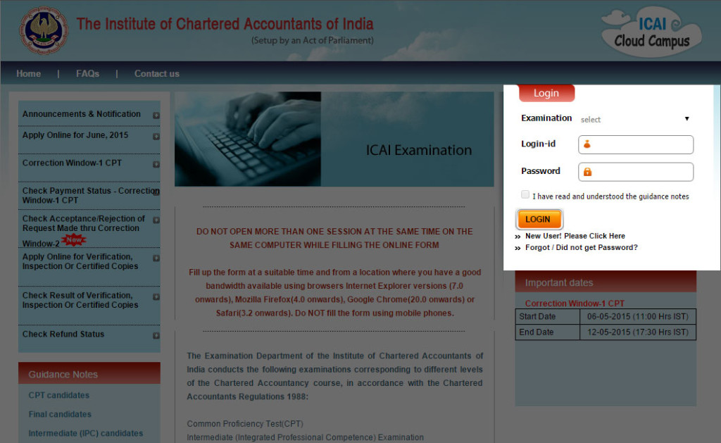 institute of chartered accountant of india web site to submit online exam form
