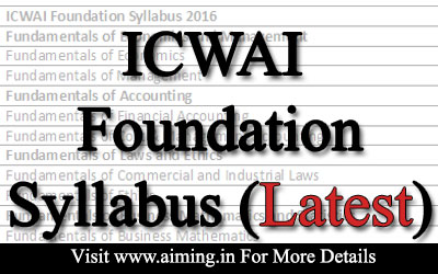 ICWAI Foundation syllabus