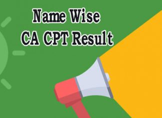 Name wise CA CPT Result