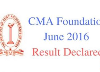 CMA Foundation Result June 2016