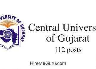 Central University of Gujarat Recruitment Apply Online at www.cug.ac.in