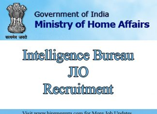 Intelligence Bureau JIO Recruitment Apply Online Through www.mha.nic.in