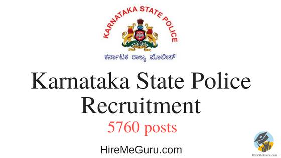 Karnataka State Police Recruitment Apply Online at www.ksp.gov.in