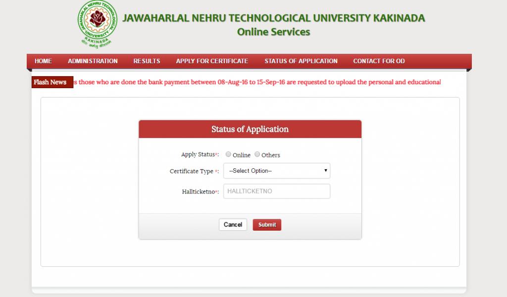 jntuk od application status