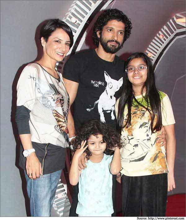 Farhan Akhtar with wife and daughters