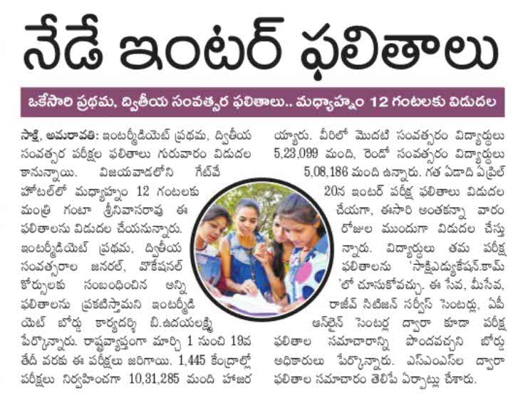 AP Inter Results News