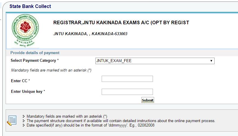 Enter JNTUK Students Details