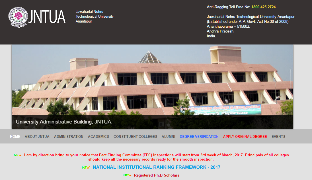 JNTU Anantapur Official Website
