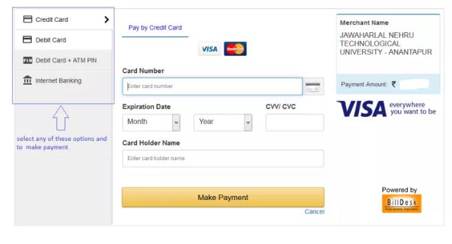 JNTUA OD Online e-payment
