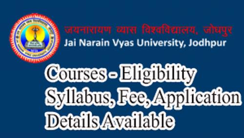 Jnvu Jodhpur Courses